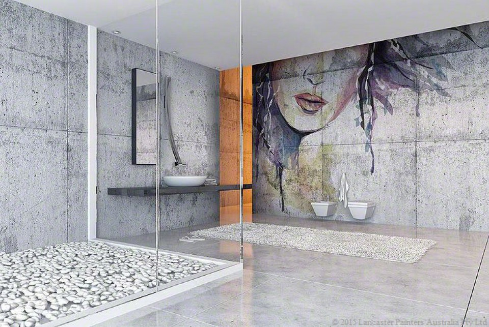 Bathroom Concrete Finish with Frescoe Mural