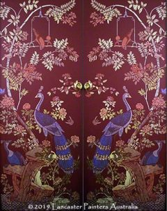Beautiful Chinoiserie Peacock Stencilled Doors