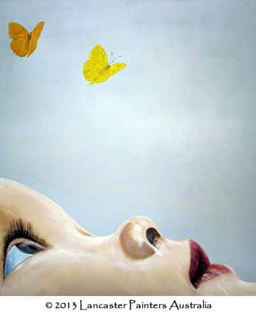 Hand Painted Portraits Butterfly Kisses Art