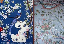 Chinoiserie Bird Painting and Painted Wall Canvas