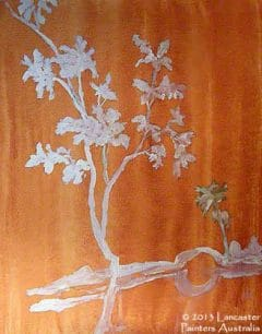 Chinoiserie Landscape on Exotic Chinese Wood Grain Finish