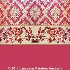 Damask Wallpaper and Hand Painted Border