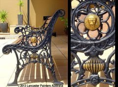Furniture Repainted Ironwork Bench with Gold Features
