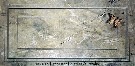 Hand Painted Grey Marble Panel with Butterfly