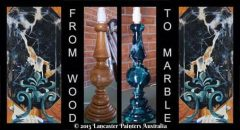 Hand Painted Marble Door Knob Art and Faux Marble Lamp Stand