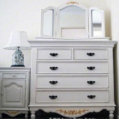 Painted French Provincial Furniture with Gold Leaf