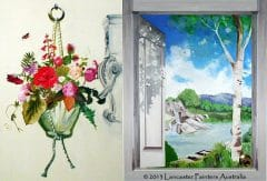 Painted Hanging Basket and Window Art Scene