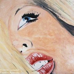 Red Lips Blue Eyes Contemporary Art